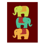 Ethnic Elephants with Flowers on Maroon Red Postcard