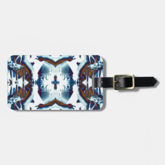 ethnic exotic bohemian pattern blue tribal batik luggage tag