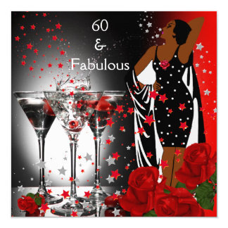 Ethnic Fabulous 60th Birthday Red Roses Martini Card