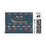 Ethnic Fishing Pattern Postage Stamp