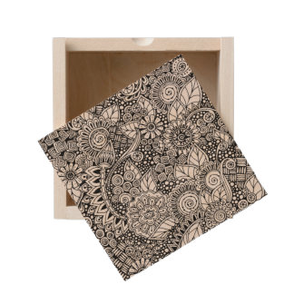 Ethnic Floral Inspired Wooden Keepsake Box