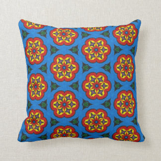 Ethnic floral pattern throw pillow