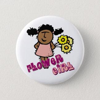 Ethnic Flower Girl Pinback Button