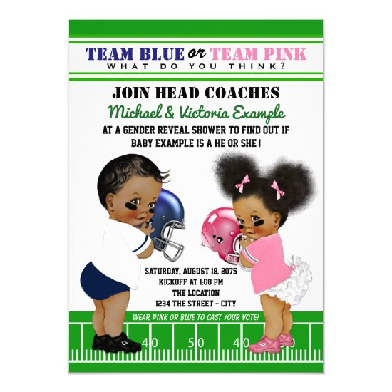 Ethnic Football Gender Reveal Baby Shower Invitation