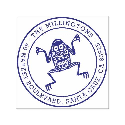 Ethnic Frog  Round Family Name  Return Address Self_inking Stamp