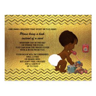 Ethnic Gender Neutral Gold Chevron Book Request Postcard