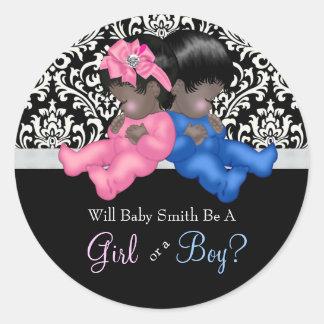Ethnic Gender Reveal Baby Shower Classic Round Sticker