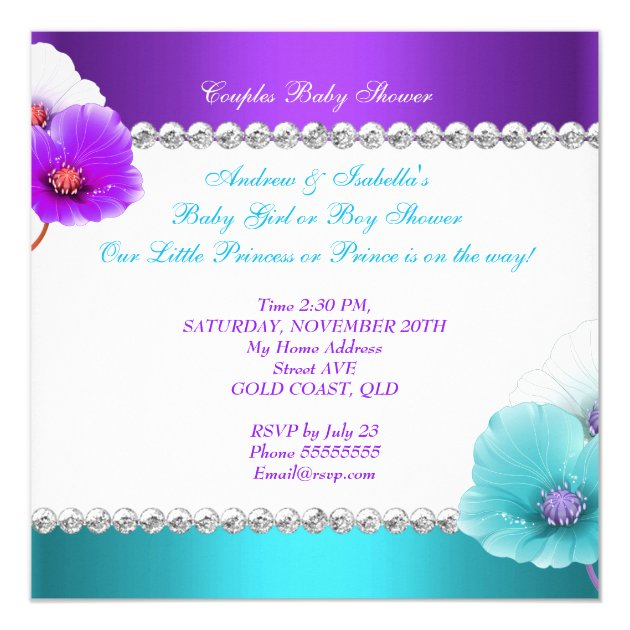 ethnic gender reveal baby shower purple teal blue card | zazzle, Baby shower invitations