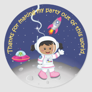 Ethnic Girl Astronaut Birthday Thank You Classic Round Sticker