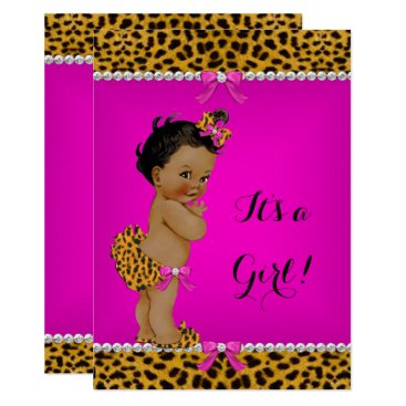 Toddler & Baby themed Ethnic Girl Baby Shower Leopard Hot Pink Card