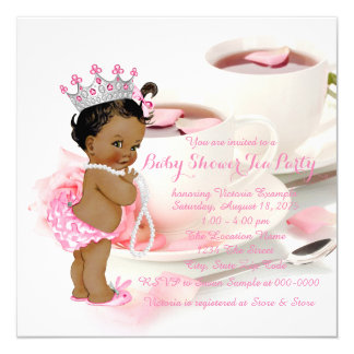 Ethnic Girl Baby Shower Tea Party Card