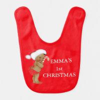 Ethnic Girl Baby's First Christmas Monogram Bib