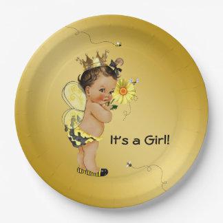 Ethnic Girl Bee Baby Shower Paper Plate