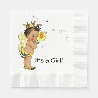 Ethnic Girl Bumble Bee Baby Shower Napkin