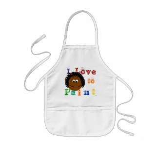 Ethnic Girl Curly Black Hair Painting Kids' Apron