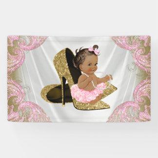 Ethnic Girl Gold High Heel Shoe Baby Shower Banner