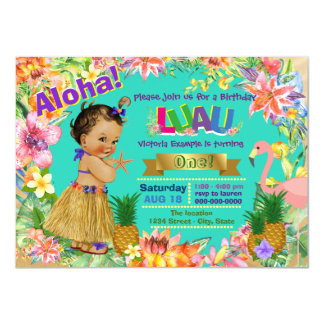 Ethnic Girl Hawaiian Luau Birthday Party Card