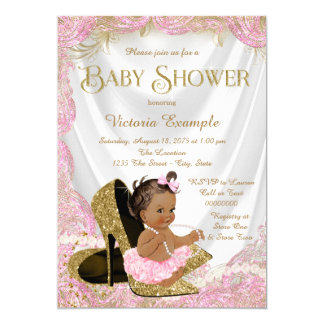 Ethnic Girl High Heel Shoe Pink Gold Baby Shower Card