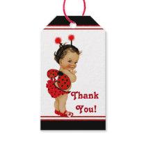 Ethnic Girl Ladybug Baby Shower Gift Tags