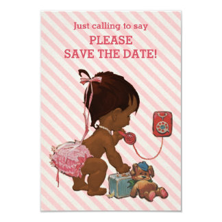 Ethnic Girl On Phone Diagonal Stripe Save The Date Card