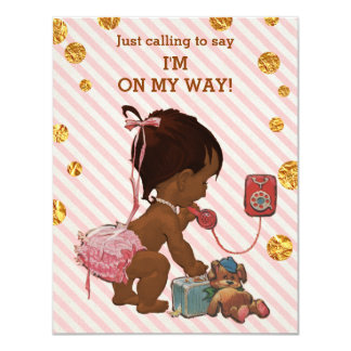 Ethnic Girl On Phone Stripes Gold Dots Baby Shower Card