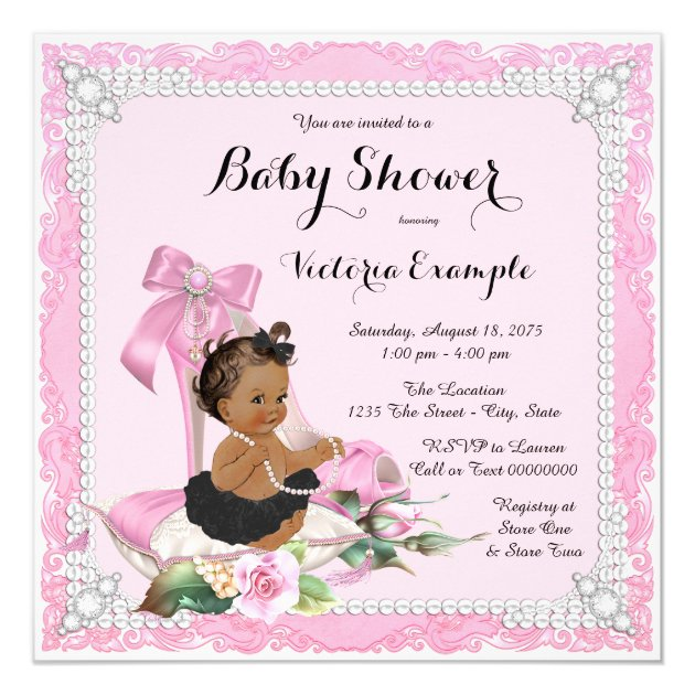 ethnic girl pearl high heel shoe baby shower card | zazzle, Baby shower invitations