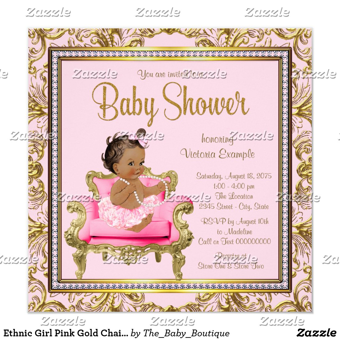 Ethnic Girl Pink Gold Chair Tutu Baby Shower Card