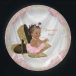 "Ethnic Girl Pink Gold High Heel Baby Shower Paper Plate<br><div class=""desc"">Pink and gold high heel shoe baby shower invitation with adorable ethnic baby girl wearing a pink tutu and string of pearls sitting on a pair of elegant gold glitter high heel shoes on a pretty pink and gold satin background. These adorable pink and gold baby shower paper plates are...</div>"