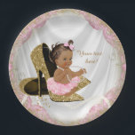 """Ethnic Girl Pink Gold High Heel Baby Shower Paper Plate<br><div class=""""desc"""">Pink and gold high heel shoe baby shower invitation with adorable ethnic baby girl wearing a pink tutu and string of pearls sitting on a pair of elegant gold glitter high heel shoes on a pretty pink and gold satin background. These adorable pink and gold baby shower paper plates are...</div>"""