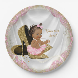 Ethnic Girl Pink Gold High Heel Baby Shower Paper Plate
