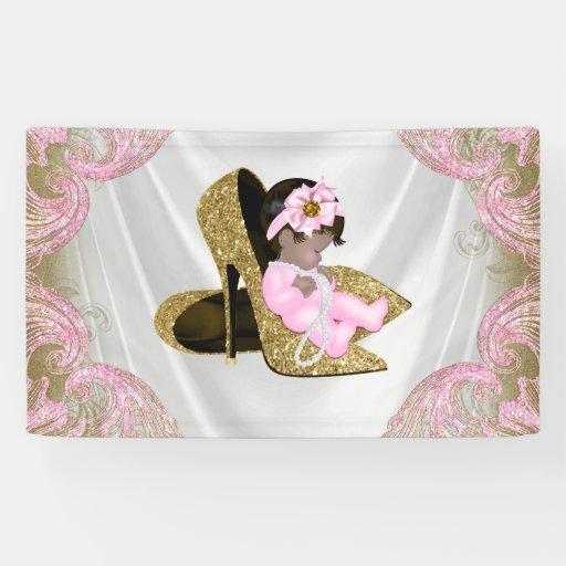 Ethnic Girl Pink Gold High Heel Shoe Baby Shower Banner