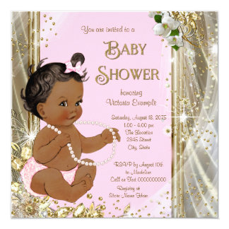 Ethnic Girl Pink Gold Pearl Baby Shower Card
