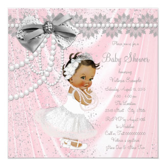 Ethnic Girl Pink Gray Satin Pearl Baby Shower Card