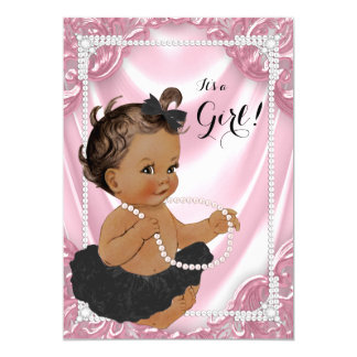 Ethnic Girl Pink Pearl Black Tutu Baby Shower Card