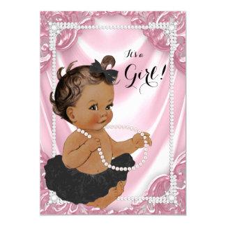 Ethnic Girl Pink Pearl Black Tutu Baby Shower Card
