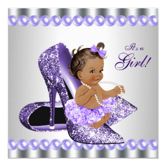 Ethnic Girl Purple Gray High Heel Shoe Baby Shower Card