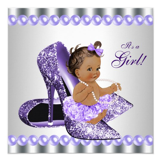 Ethnic girl purple gray high heel shoe baby shower invitation ethnic girl purple gray high heel shoe baby shower invitation filmwisefo