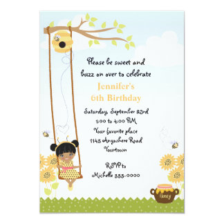 Ethnic Girls Honey Bee Birthday Card