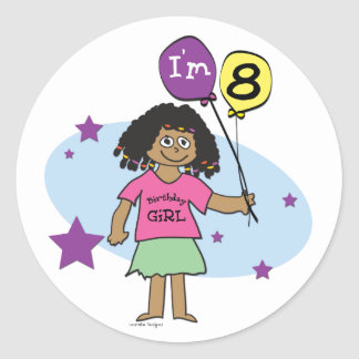 Ethnic Girls I m 8 8th Birthday Stickers