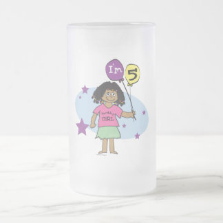 Ethnic Girls I'm 5 5th Birthday Cups 16 Oz Frosted Glass Beer Mug