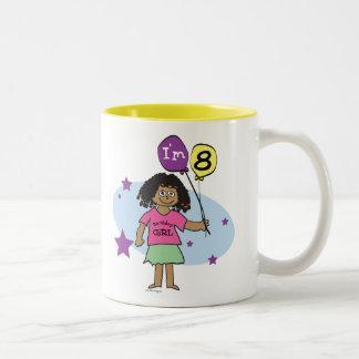 Ethnic Girls I'm 8 8th Birthday Two-Tone Coffee Mug