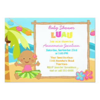 Ethnic Girls Luau Baby Shower Card