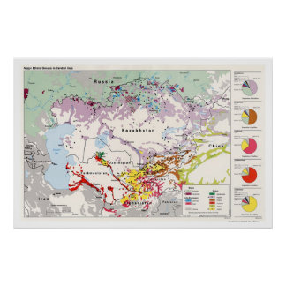 Ethnic Groups Asia Map 1993 Poster