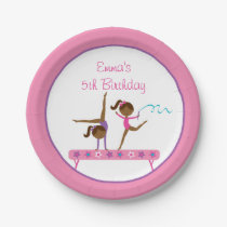 Ethnic Gymnastics Girl Birthday Paper Plate
