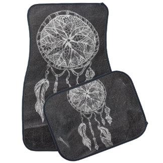 Ethnic hand drawn dreamcatcher black chalkboard car mat