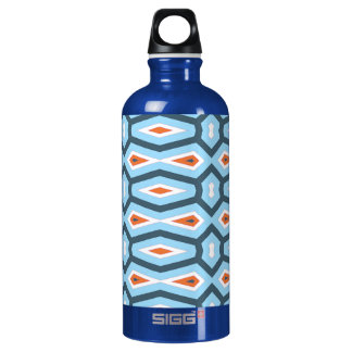 Ethnic hexagon pattern blue orange water bottle