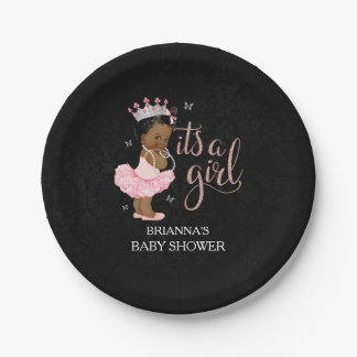 Ethnic It's a Girl Princess Baby Shower plates