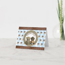 Ethnic Lil Cowboy and Teddy Bear Thank You Notes