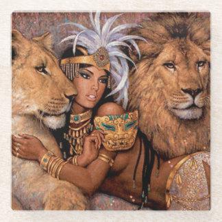 Ethnic Lion Goddess Egyptian Beverage Coaster