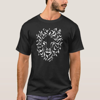 Ethnic Lion Head. Color white. T-Shirt